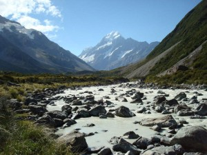 Travel for fun, visit New Zealand South Island, Mount Cook: Mount Cook lurking in the background in the national park