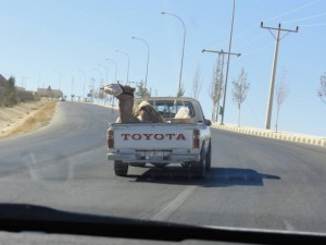 Travelling for Fun, Madaba, visit Jordan: The ship of the desert? This one is floating in a jeep!