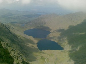 Travel for fun, Killarney, Ring of Kerry, visit Ireland: Some of the lakes on view when trekking on Carrauntoohill Mountain