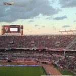 Travelling for fun, things to do in Buenos Aires, visit Argentina: The crowd and a low flying plane in the home ground of River Plate, the Monumental