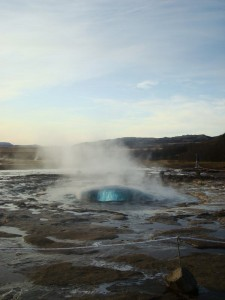 Travelling for fun, Golden Circle, Things to do in Iceland and Reykjavik: Step 1 in Strokkur geyser lifting off