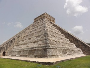Travelling for fun, visit Mexico, Sightseeing in Chichen Itza: Up close and personal to El Castillo in the Chichen Itza complex. Over a million tourists visit Chichen Itza every year.