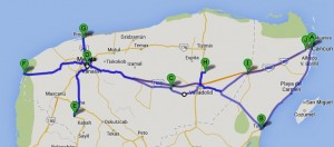 Travelling for Fun, Mexico, Yucatan Peninsula - what to do in Cancun to Merida,: My route when visiting the Yucatan Peninsula