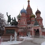 St. Basils Cathedral in Red Square, What to do in Moscow, Russia, Travelling for Fun: Ice sculptures outside St. Basils Cathedral add some fun to the already strange looking iconic cathedral.