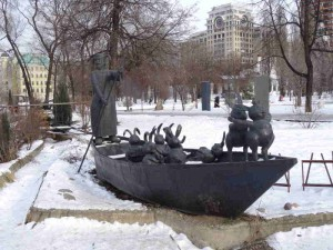 Fallen Monument Park, Statue Park,  What to do in Moscow, Russia, Travelling for fun: As well as some of the old Soviet statues in the park there are also some more contemporary one's such as this rabbits in a boat piece