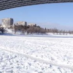 Volga – Don Canal, What to do in Volgograd, Russia, Travelling for Fun: A panoramic view of the final Volga – Don lock as seen from its frozen lake. The lock and entrance has a pleasant walk along the banks.