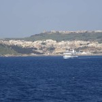 Gozo Channel Ferry, Mgarr, What to do in Gozo, Malta, Travelling for Fun: The Gozo ferry crossing the straight to Malta with Mgarr on Gozo in the background.