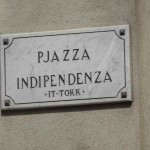 Independence Square, Victoria, What to do in Gozo, Malta: The street sign on the wall for Independence Square, a great place to sit back and soak up the sun and atmosphere