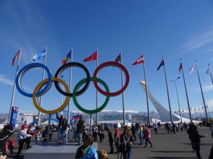 Sochi, Winter Olympics 2014, Russia, Olympic Park, Travelling for Fun: The flame, the rings and the flags below a blue sky and in front of snow capped mountains. What more do you want at the Winter Olympics?