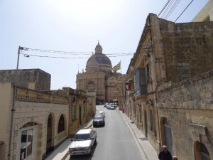 Xewkija Rotunda Church, What to do in Gozo, Malta: The huge rotunda church as seen through the narrow streets of Xewkija.