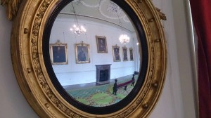 Dublin Castle, Free attractions in Dublin, What to do in Dublin, Ireland, Travelling for Fun: One of the many fancy rooms in the State Apartments of Dublin castle. The mirrors are curved so the master could view every angle of the table!