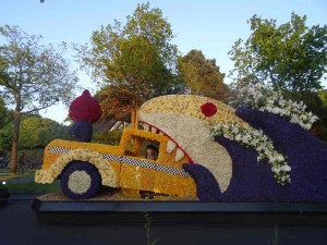 Flower Parade in Holland - A taxi eaten by a flower shark