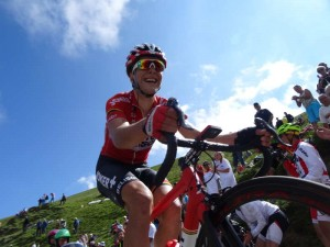 See the Tour de France, Stage 16: Some professionals struggle at the top of Port de Bales like this Lotto Belisol rider